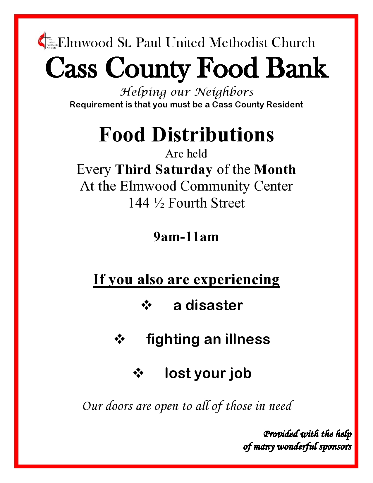 Advertisement for Food bank 2019 page0001