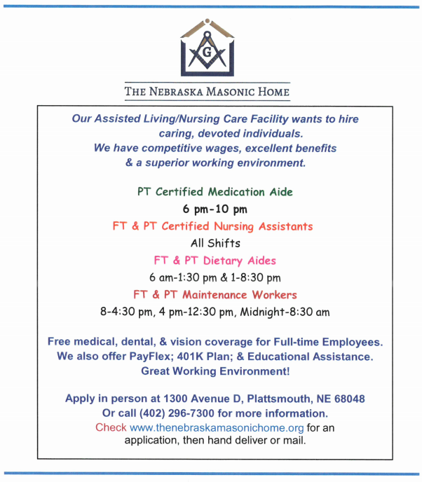 masonic home nursing help wanted